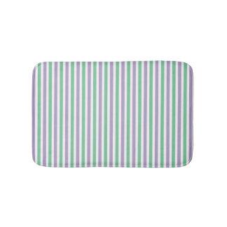 Mint green and lavender striped pattern modern bath mat