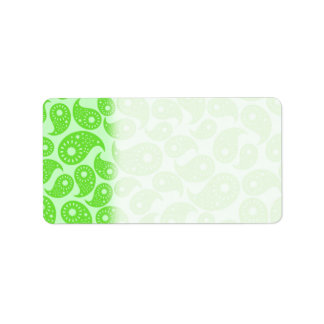 Mint Green and Lime Green Paisley. Address Label