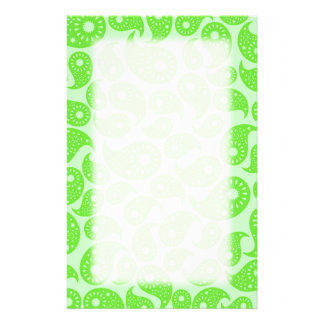 Mint Green and Lime Green Paisley. Personalized Stationery