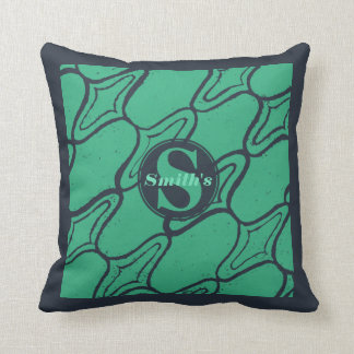 Mint Green and Navy Grunge Damask block print Cushion