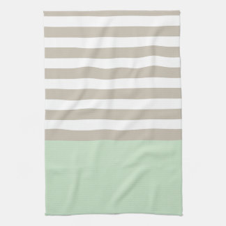 Mint Green and Neutral Gray Striped Pattern Tea Towel