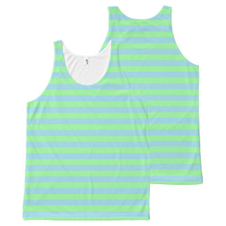 Mint Green and Pastel Blue Stripes All-Over Print Singlet