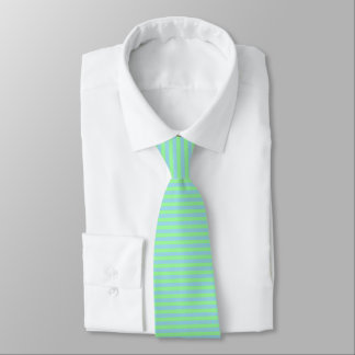 Mint Green and Pastel Blue Stripes Tie