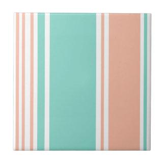 Mint Green and Peach Modern Stripes Ceramic Tile