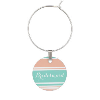 Mint Green and Peach Modern Stripes Wine Glass Charm
