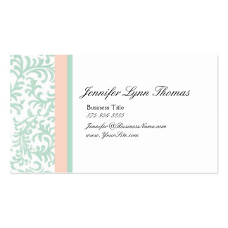 Mint Green and Peach Pink Damask Seating Card Business Card Templates