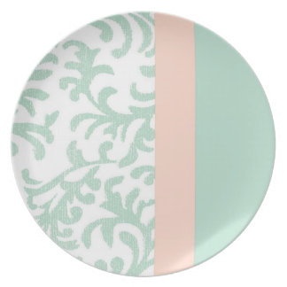 Mint Green and Peach Pink Floral Pattern Dinner Plates