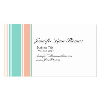 Mint Green and Peach Stripes Business Cards
