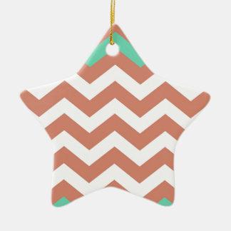 Mint Green and Peach Zigzags Ceramic Star Decoration