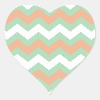 Mint Green and Peach Zigzags Heart Sticker