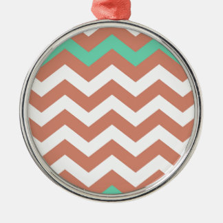 Mint Green and Peach Zigzags Silver-Colored Round Decoration
