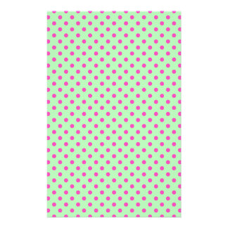 Mint Green and Pink Polka Dots Stationery