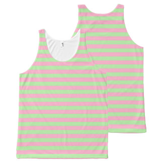 Mint Green and Pink Stripes All-Over Print Singlet