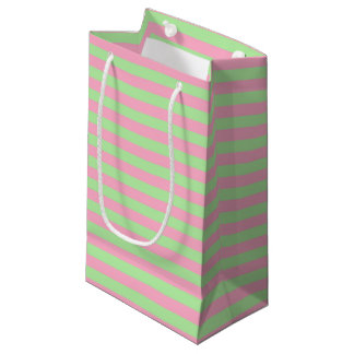 Mint Green and Pink Stripes Small Gift Bag