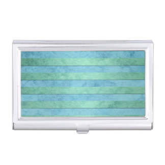 Mint Green and Turquoise Watercolor Art Stripes Business Card Holders