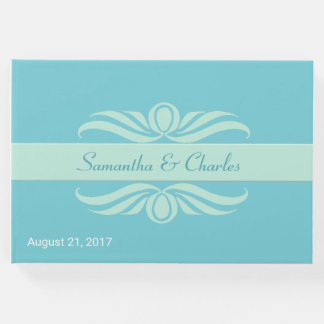 Mint Green and Turquoise Wedding Guest Book