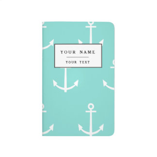 Mint Green and White Anchors Pattern 1 Journal