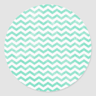 Mint Green and White Chevron Pattern Round Sticker