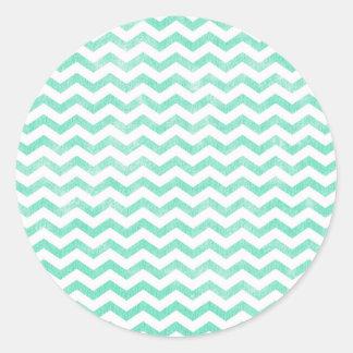 Mint Green and White Chevron Pattern Round Sticker