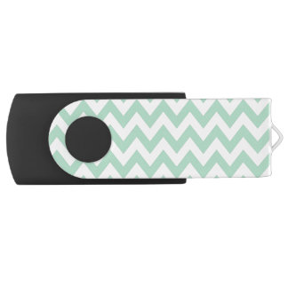 Mint Green and White Chevron Print Swivel USB 2.0 Flash Drive