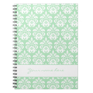 Mint green and white damask personalized spiral notebook