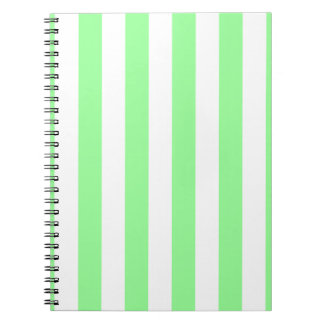 Mint Green and White Extra Large Stripe Pattern Spiral Notebooks