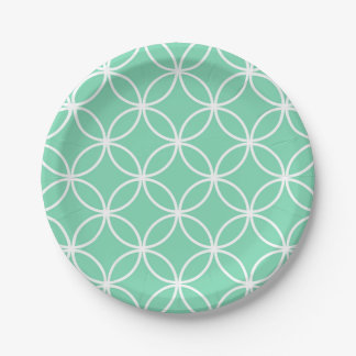 Mint Green and White Geometric Pattern Circles Paper Plate