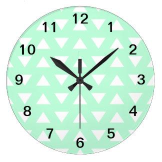 Mint Green and White Geometric Pattern. Large Clock