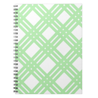Mint Green and White Gingham Spiral Note Books
