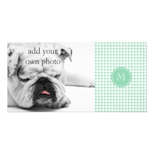 Mint Green and White Gingham, Your Monogram Photo Card Template