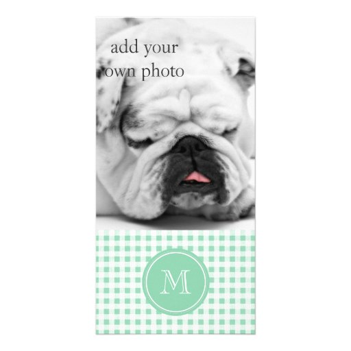 Mint Green and White Gingham, Your Monogram Picture Card