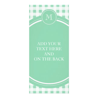 Mint Green and White Gingham Your Monogram Personalized Rack Card
