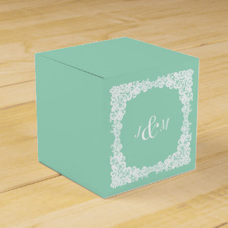 Mint green and white lace custom favor box