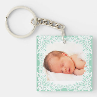 Mint green and white lace custom photo keychain