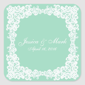 Mint green and white lace square sticker