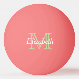 Mint Green and White Monogram on Pink Ping Pong Ball