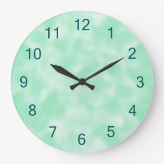 Mint Green and White Mottled Clock