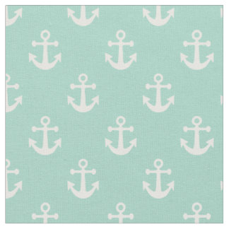 Mint Green and White Nautical Anchors Pattern Fabric