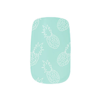 Mint Green and White Pineapple Pattern Minx Nail Art