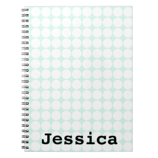Mint green and white polka dot notebook