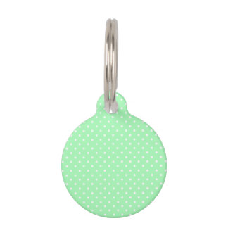 Mint Green and White Polka Dot Pet ID Tag