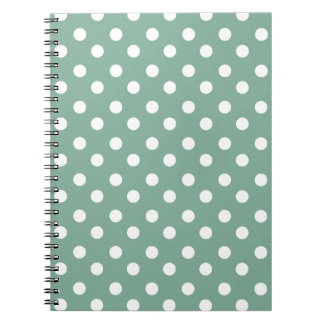 Mint Green and White Polka Dots Pattern Spiral Notebook