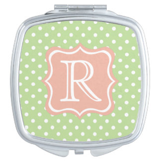 Mint Green and White Polka Dots with Sweet Peach Mirror For Makeup