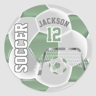 Mint Green and White Soccer Ball Classic Round Sticker