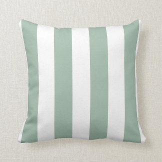 Mint Green and White Striped Throw Pillow