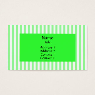 Mint Green and White Stripes Pattern Business Card