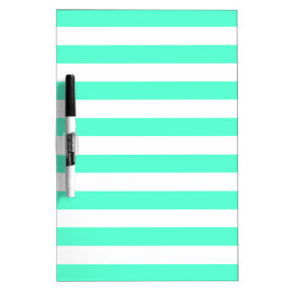 Mint Green and White Stripes Pattern Dry Erase Boards
