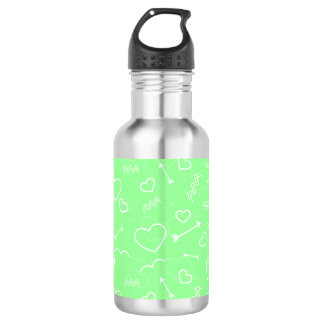 Mint Green and White Valentines Love Heart Arrow 532 Ml Water Bottle