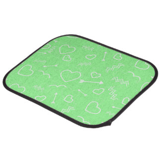 Mint Green and White Valentines Love Heart Arrow Car Mat