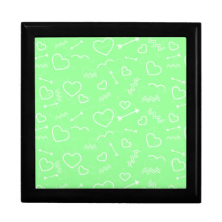 Mint Green and White Valentines Love Heart Arrow Gift Box